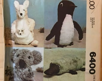 McCalls 6400 - 1970s Plush Kangaroo, Platypus, Penguin, and  Koala Toys