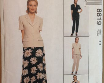 McCalls 8819 Jones New York Design Summer Suit Separates Lined Jacket, Dress, Pants and Skirt - Size 10 or 14