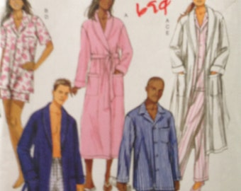 Butterick B5537 Classic Men's or Women's Sleepwear Sleep Top, Pants, Shorts or Shawl Collar Robe - Size S M L