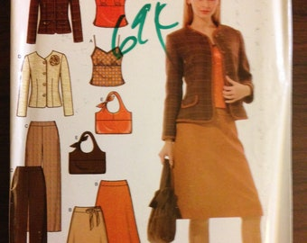 Simplicity 4951 - Easy Chic Separates with Camisole, Jacket, Pants, Skirt, and Purse - Size 4 6 8 10