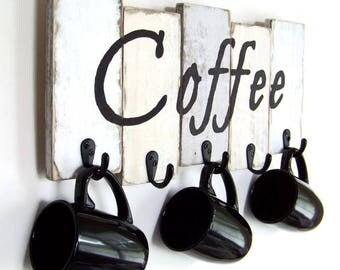Coffee Cup Holder, Kitchen Storage, Coffee Mug Holder, Mug Rack, Rustic Décor, Housewarming Gift, Kitchen Decor, Custom orders welcome!