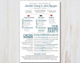 Fun Facts Wedding Program - Printable