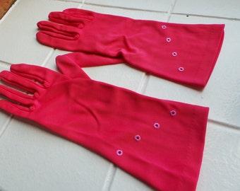 Vintage pink mid length gloves.  Dents size 7.5 or medium