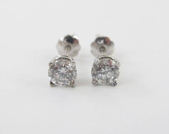 14k White Gold Diamond Stud Earrings 0.80 carat - Women's Screw Back Earrings