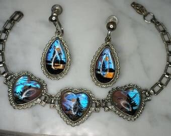 Silver Tone and Butterfly Wing Heart Link Bracelet with Matching Screw Back Teardrop Earrings