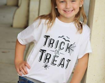 Trick-Or-Treat - Spiderweb Shirt - Spider Web Shirt - Halloween Clothes - Kids Halloween Shirt - Children's Halloween Shirts - Bat Shirt