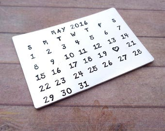 Personalised Calendar Gift, Anniversary Wedding Gift, Special Dates Wallet Insert, Mark the Date Calendar Card, Save the Date Keepsake, Love
