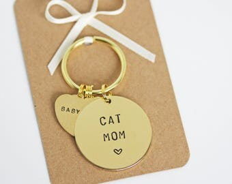 Cat Mum / Mom / Mama Keyring, Personalised with cats name(s) cat lover gift