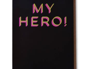 My Hero! - Funny, Modern Thank You Card