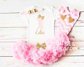 First Birthday Girl Outfit, 1st Birthday Outfit, Personalized First Birthday Onesie, Girls Gold Pink Princess Outfit, Pink Gold Birthday