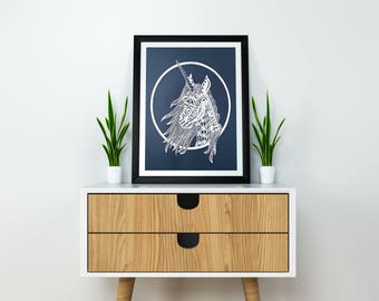 Unicorn Paper Cut / Unicorn Art / Paper Unicorn / Unicorn Decor / Unicorn Gift / Unicorn Decorations / Unicorn Wall Art / Unicorn Theme