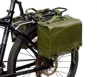 Genuine 1980s Ex-Army Waterproof Pannier Bags pair retro vintage green large bike rubberized panniers showerproof rainproof