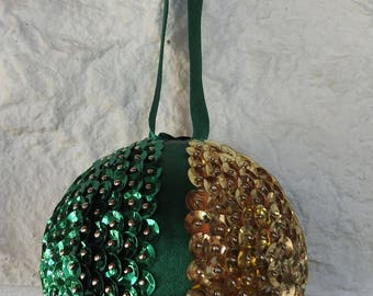 Handmade Green And Gold Sequined and Green Ribbon Christmas Bauble In Quarters - Free Shipping