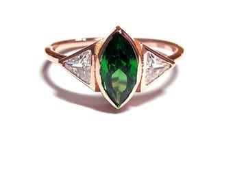 14k gold ringemerald ringdiamond ringrose gold ring14k
