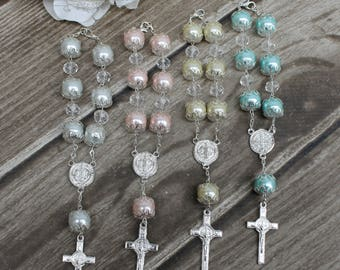 FAST SHIPPING!! 12 Pieces Silver Mini Rosary, Christening Favor, Baptism Favor, Communion Favor, Confirmation Favor, Wedding Favor, Giveaway