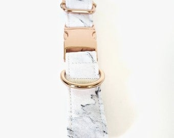 "Carrara Marble Dog Collar, Rose Gold, Yellow Gold, Silver (1"" width shown), dog collar, marble dog collar, dog, cute dog collar,white marble"
