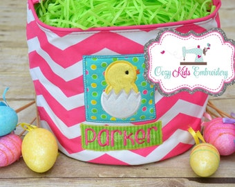 Easter Tote, Easter Basket, Girl's Easter Basket, Pink Easter Basket, Chick Easter Basket, Chick Applique, Chick Embroidery