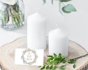 Floral Wreath Wedding Place Card