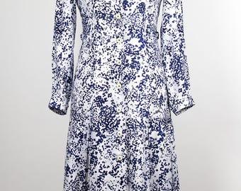 Vintage Dress //80s//Blue/White//Drop Waist//