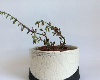 Plant holder - raku plant holder - black and white plant holder - garden decoration -