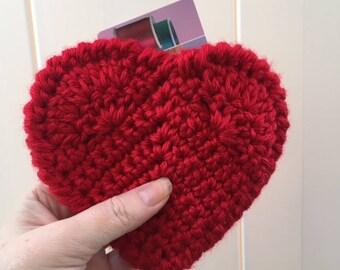 Valentine Heart Gift Card Holder Crochet Small Gift Wrap Gift Card Sleeve Money Holder Gift Holder