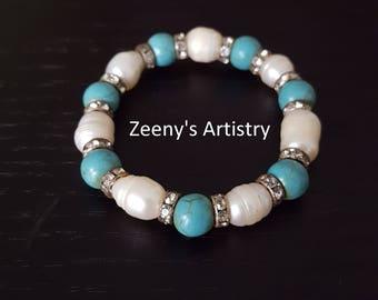 Bracelet/Bangle- Pearl, turquoise stone and zircon elastic bracelet FREE SHIPPING