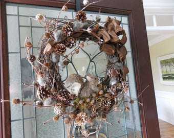 Fall Wreath-Fall Wreaths for Front Door-Thanksgiving Wreath-Squirrel Wreaths-Autumn Wreath-Fall Door Wreaths-Front Door Wreaths-Squirrel