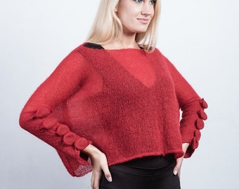 See Through Transparent Red and Light Mohair Oversized Pullover With Avant-garde Sleeves, Light Sweater,  Red Blouse, Transparent Sweater