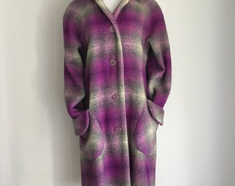 Vintage 60s/70s Purple Plaid Heavy Coat M/L