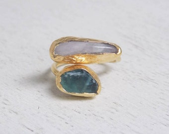 Green Tourmaline Ring, Moonstone Ring, Crystal Ring, Gemstone Ring, Minimalist Ring, Two Stones Ring, Gold Statement Ring Gift For Her D3-39