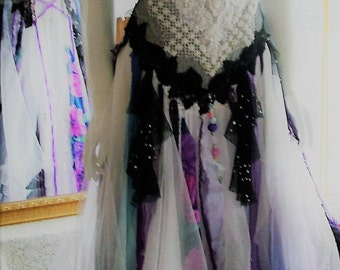 Size 4 - 10. Black white purple bohemain boho renaissance faire alternate shabby chic tattered wedding dress