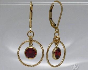 14k gold filled garnet color CZ zirconia drop & hoop leverback earrings