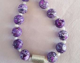 Color Purple stones with freshwater pearls