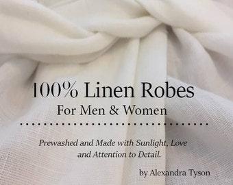 White Linen Robe / Linen Robe / Linen Bath Robe / Linen Dressing Gown / Long Robe / 100% Linen Robe / Softened Linen Robe / Womens Robe