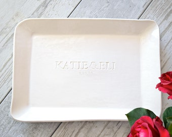 PERSONALIZED SERVING PLATTER customized wedding gift, engraved platter, engagement gift, extra large ceramic tray, anniversary date gift