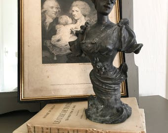 Art Nouveau Statue antique statue European spelter zinc tone French style Paris Apartment