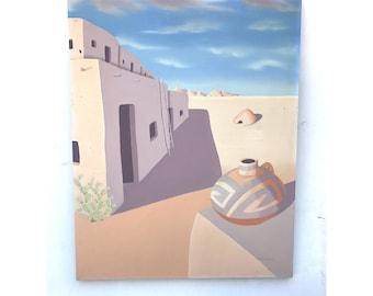 Southwestern Art -- Southwestern Native American Art -- Desert Art -- Vintage Desert Painting -- Vintage Desert Art -- South West Art