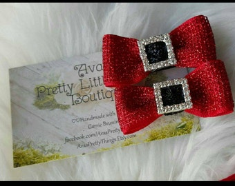 Santa Baby Mini Buckle Bows ~ Christmas ~ Red Sparkle ~ Tuxedo ~ Silver ~ Black ~ Merry Christmas ~ Clip ~ Pigtail Bows ~ Holidays ~