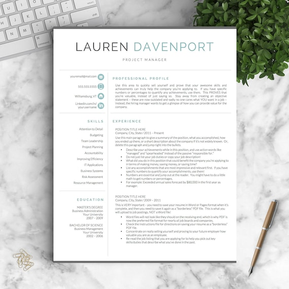modern resume template for word and pages creative modern resume design modern cv template for word instant download resume template - Modern Resume Formats