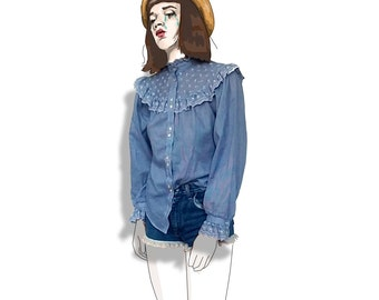 Blue checkered cowgirl old western frilly blouse!