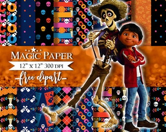 Coco, Day of the Dead, Altar de Muertos, Mexican, Digital Paper, Clipart, Clip Art, Cliparts, Digital Papers