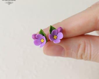 Lilac stud Earrings Purple lilac earrings Syringa earryngs Lilac jewelry Lilac flower stud  Flower jewelry Lilac jewelry Purple lilac gift