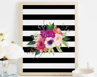 Shabby Chic, Stripe, Purple Floral, Floral Printable, Wall Art, Wall Printable, Floral Wall Decor, Printable Floral Art, Stripe Print