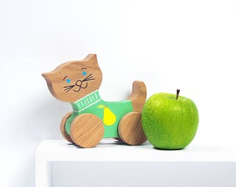 Wooden push toy cat - Gift box - Handmade natural, vegan Kids toy - Eco-friendly Baby shower gift - Kids birthday gift - Toddler toy - UK