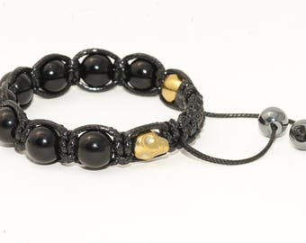 Skull bracelet with hematite/black Agate gold