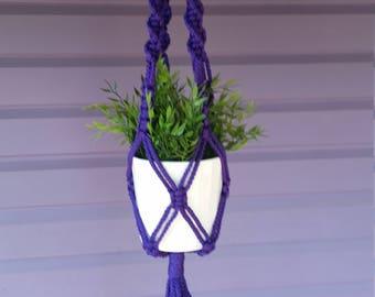 Macrame plant hanger Purple