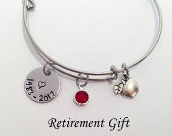 Teacher Retirement Gifts, Teacher Retirement, Teacher Retirement Bracelet, Retiring Teacher Gifts Women, Retiring Gifts - change apple charm