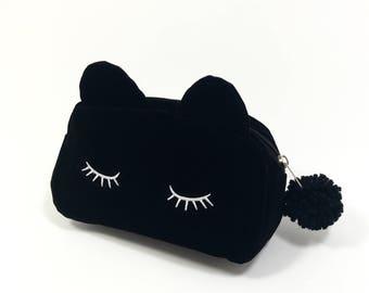 Nekomimi Zipper pouch with pom pom, Black Cat bag, Cosmetic pouch, gift under 20, Neko, Kawaii, Cat ears,Gift for cat lover,Anime Eyelash