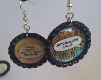 Apokolips comic book earrings, DC comics statement earrings, geeky jewelry, nerdy earrings, villain cosplay, justice league, geek earrings