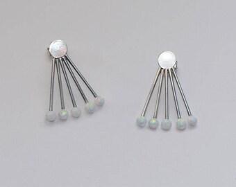 White Opal Stud Earrings Silver, Earring studs, 20g cartilage earring, Helix earring stud, Cartilage piercing, Helix piercing, Conch earring